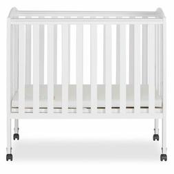 Dream On Me 2 in 1 Portable Folding Stationary Side Crib, Wh