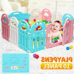 10 Panel Baby Playpen Kids Safety Play Center Yard Home Indo