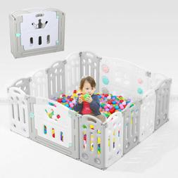 14 Panel Foldable Playpen Kids Safety Fence Baby Play Center