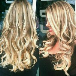 28'' Long Curly Wavy Wig Brown Blonde Ombre Full Wigs Synthe