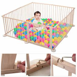 8 Panel Baby Playpen Foldable Wooden Frame Kids Play Center