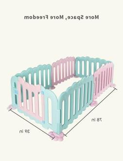 Baby Playpen 6 Panel Foldable Kids Safety Play Center Yard F