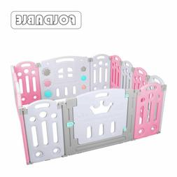 Foldable 14 Panel Baby Playpen Kids Safety Fence Play Center