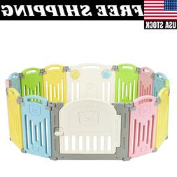 Foldable Baby Playpen Kids 14 Panel Fence Activity Centre Sa