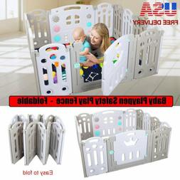 Foldable Baby Playpen Kids 14 Panel Safety Play Center Yard