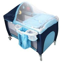 Foldable Home Journey Baby Infant Crib Playpen with Mosquito