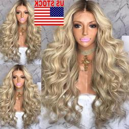 Hot Women Blonde Long Curly Wig Synthetic Wavy Natural Hair