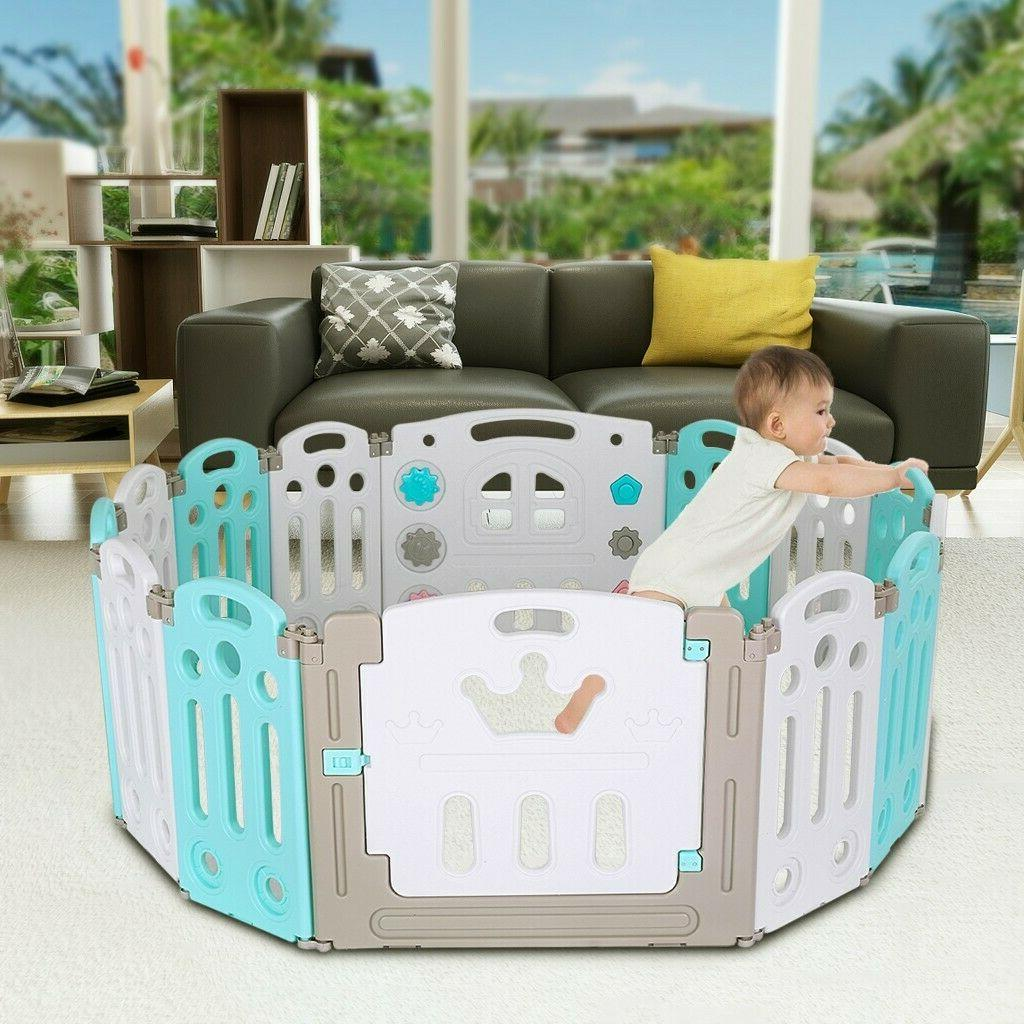 Foldable Playpen 14 Panel Fence Centre Safety Play Home