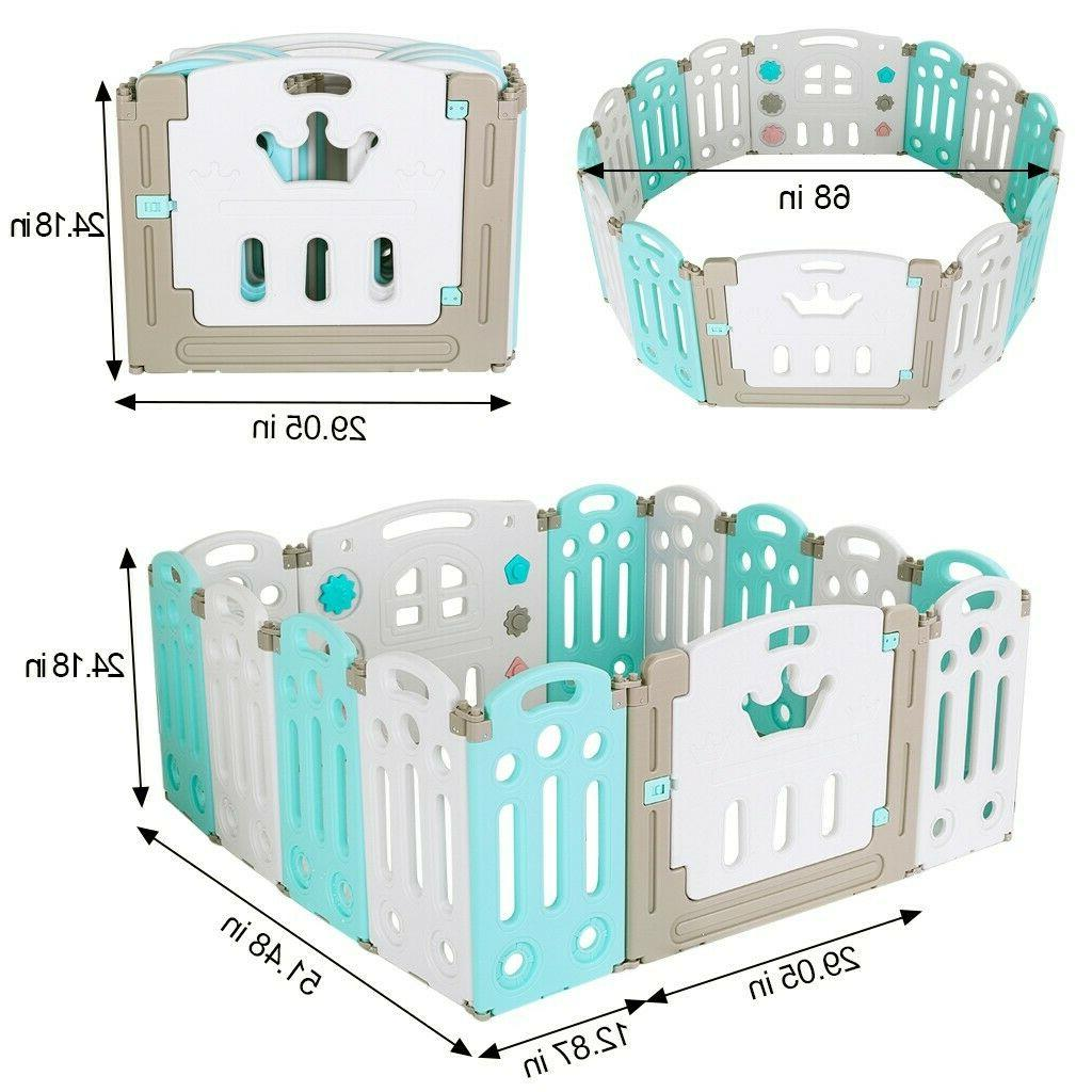 foldable baby playpen kids 14 panel fence