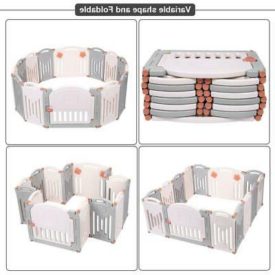Foldable Baby 14 Safety Play Center Fence