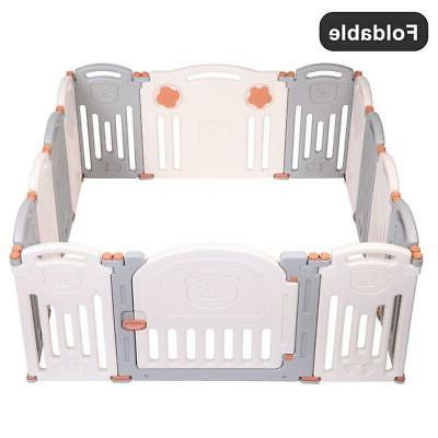 Foldable Baby 14 Center Yard Home Pen Fence