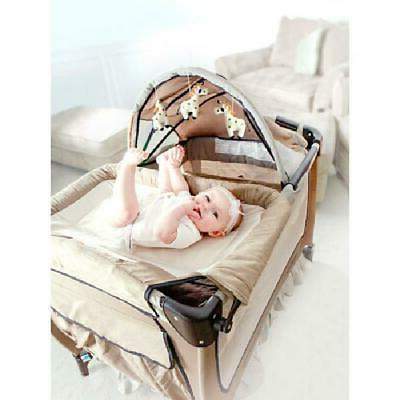 Portable Baby Playpen Crib Changing W/ Wheels Lovely Gift