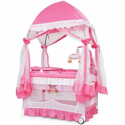Portable Baby Playpen Crib Cradle Bassinet Changing Pad Mosq