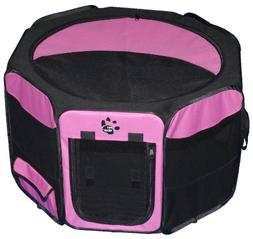 Pet Gear Octagon Pet Pen with Removable Top, Pink, Polyester