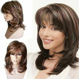 Women Girl Brown Curly Wig Synthetic Wigs with Inclined Bang